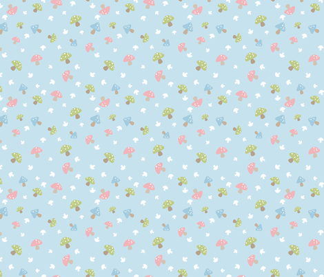 Woodland Mushroom - Pink on blue fabric by inktreepress on Spoonflower - custom fabric
