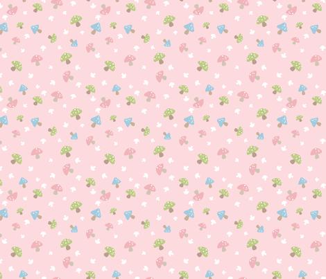 Woodland Mushroom - Pink on pink fabric by inktreepress on Spoonflower - custom fabric