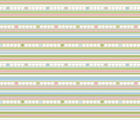 Woodland Mushroom Stripe - Pink fabric by inktreepress on Spoonflower - custom fabric