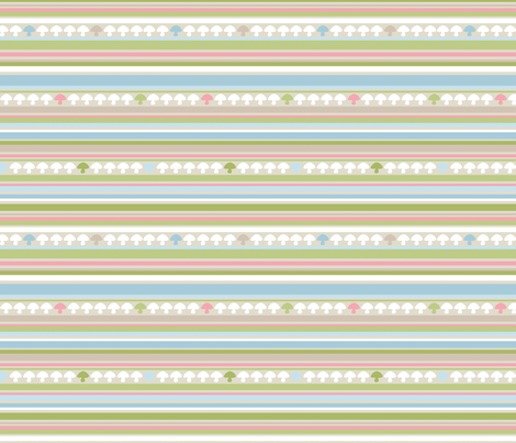 Woodland Mushroom Stripe - Pink fabric by inktreepress on Spoonflower - custom fabric