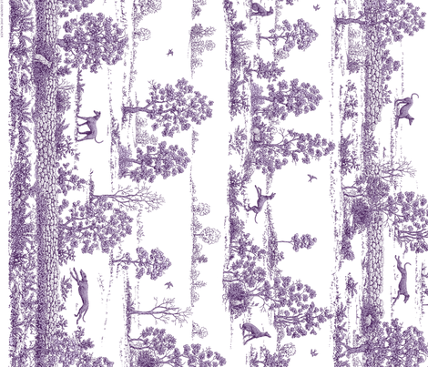 Purple Greyhound Toile Panel/Border ©2010 by Jane Walker fabric by artbyjanewalker on Spoonflower - custom fabric