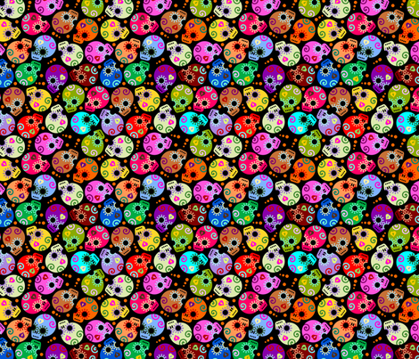DOTD skulls black small fabric by thirdhalfstudios on Spoonflower - custom fabric