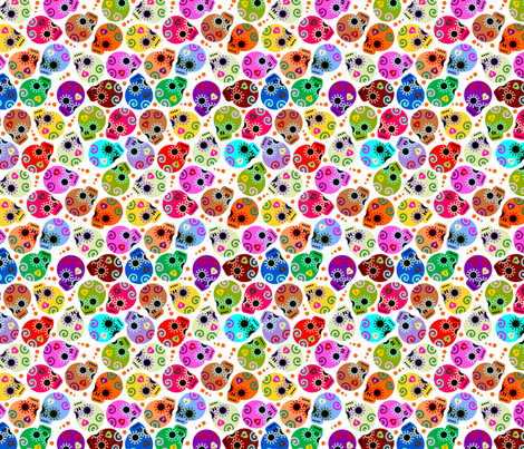 DOTD skulls white small fabric by thirdhalfstudios on Spoonflower - custom fabric