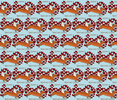 Adopt a Rescue Doxie Red Dog fabric by theartfulhorse on Spoonflower - custom fabric