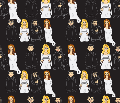 Cartoon Vampires fabric by riamelin on Spoonflower - custom fabric