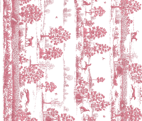 Dark Pink Greyhound Toile Panel Border ©2010 by Jane Walker fabric by artbyjanewalker on Spoonflower - custom fabric