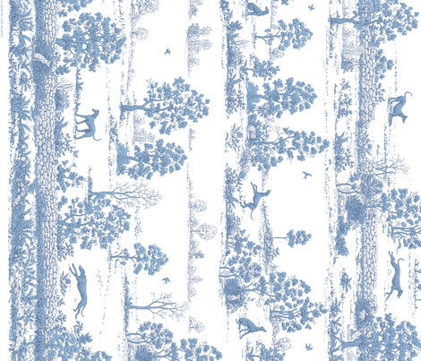 Soft Blue Greyhound Toile de Jouy Panel/Border ©2010 by Jane Walker fabric by artbyjanewalker on Spoonflower - custom fabric