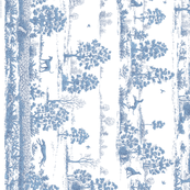 Soft Blue Greyhound Toile de Jouy Panel/Border ©2010 by Jane Walker