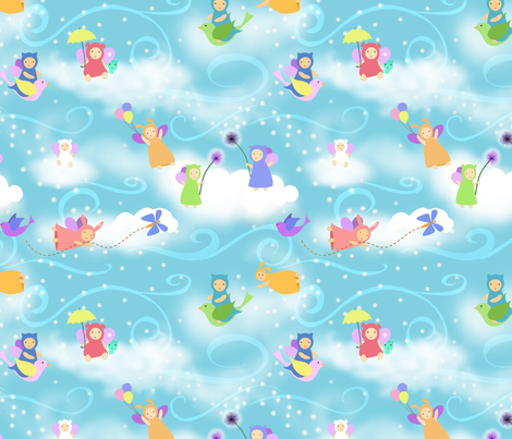 How clouds are made in kawaii fabric by vo_aka_virginiao on Spoonflower - custom fabric