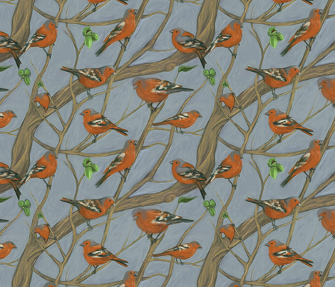 The Chaffinch fabric by ravynka on Spoonflower - custom fabric