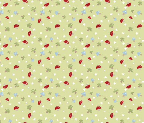 Woodland Mushrooms - Red on green fabric by inktreepress on Spoonflower - custom fabric