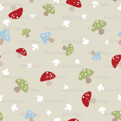 Woodland Mushrooms - Red on cream