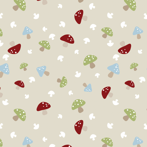 Woodland Mushrooms - Red on cream fabric by inktreepress on Spoonflower - custom fabric