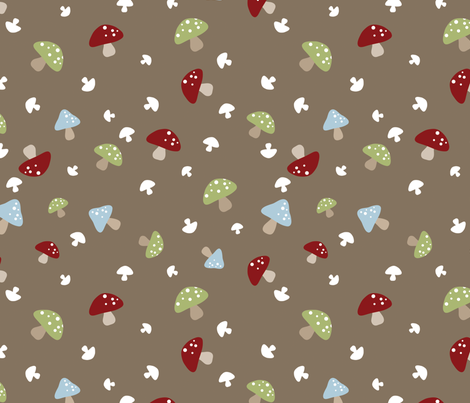 Woodland Mushrooms - Red on brown fabric by inktreepress on Spoonflower - custom fabric