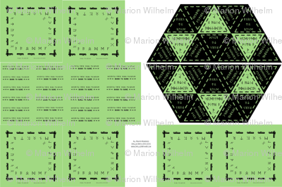 Six_green_rune_cloths_and_bags_with_born_to_rune_handles_half_size_for_Spoonflower