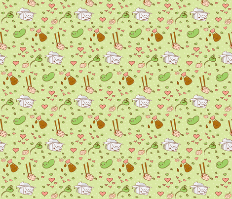 Happy Tofu fabric by fauxfauna on Spoonflower - custom fabric