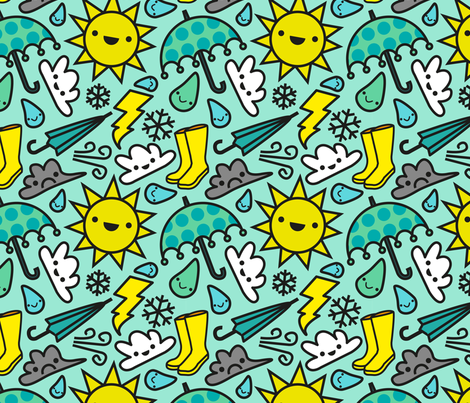 Kawaii Weather fabric by isabelc on Spoonflower - custom fabric