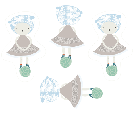 cute pastel doll fabric by yaelfran on Spoonflower - custom fabric