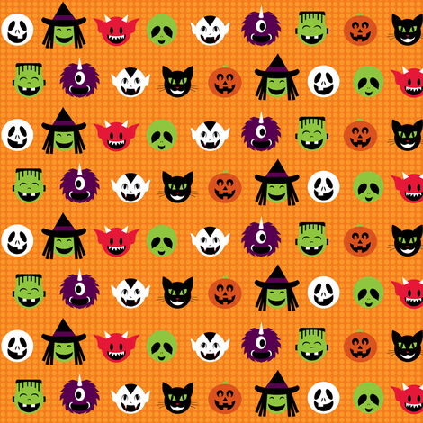 Kawaii Halloweenies - Orange fabric by lulakiti on Spoonflower - custom fabric