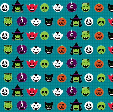 Kawaii Halloweenies - Teal fabric by lulakiti on Spoonflower - custom fabric