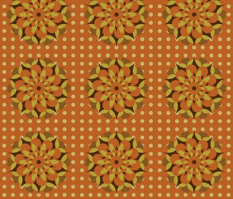 Retro browns rosettes fabric by ravynka on Spoonflower - custom fabric
