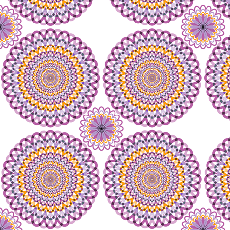 Purple and orange rosettes fabric by ravynka on Spoonflower - custom fabric