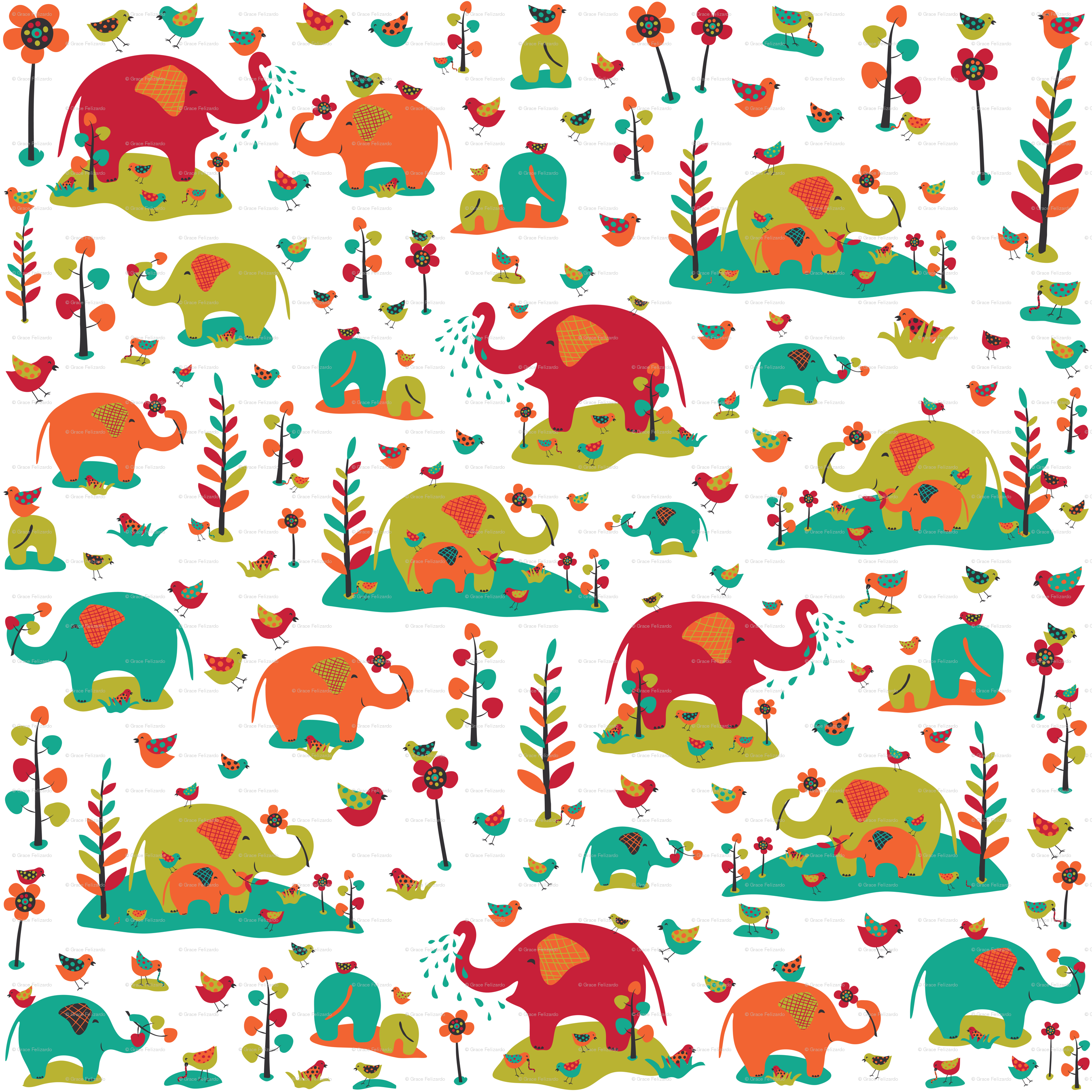 Elephant design wallpaper