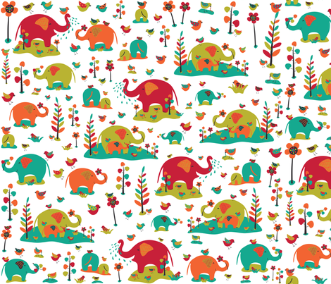 Happy Elephants fabric by gracedesign on Spoonflower - custom fabric