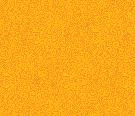 swirl botanical - naranja fabric by monmeehan on Spoonflower - custom fabric