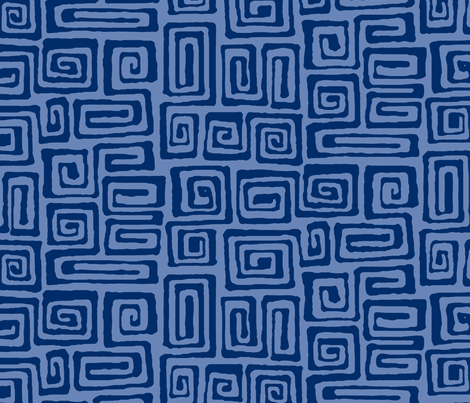 square spiral - indigo fabric by monmeehan on Spoonflower - custom fabric