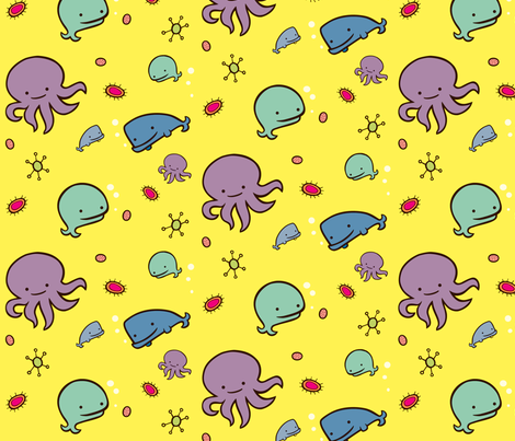 kawaii under the sea fabric by motobus on Spoonflower - custom fabric