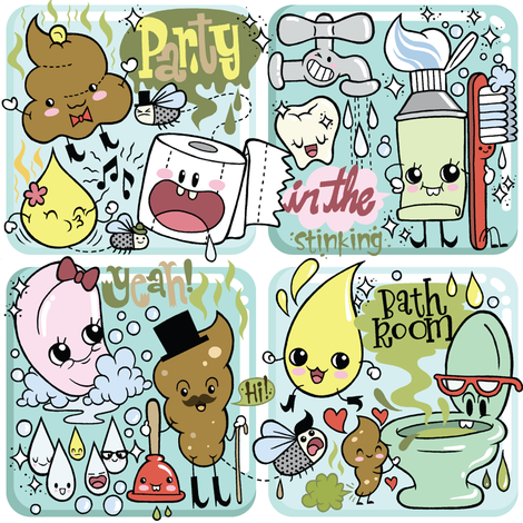 Party in the bathroom! fabric by yukittenme on Spoonflower - custom fabric