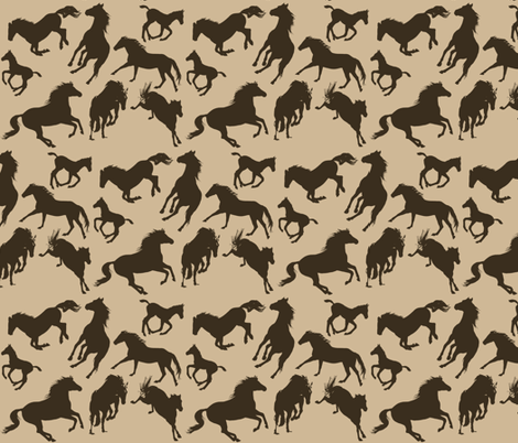 Horses in Silhouette fabric by ravenwoodstudiodesigns on Spoonflower - custom fabric