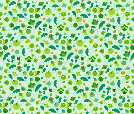 Apples and Blossoms fabric by stefohnee on Spoonflower - custom fabric