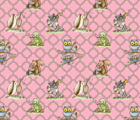 Critter Jamboree pink fabric by mytinystar on Spoonflower - custom fabric