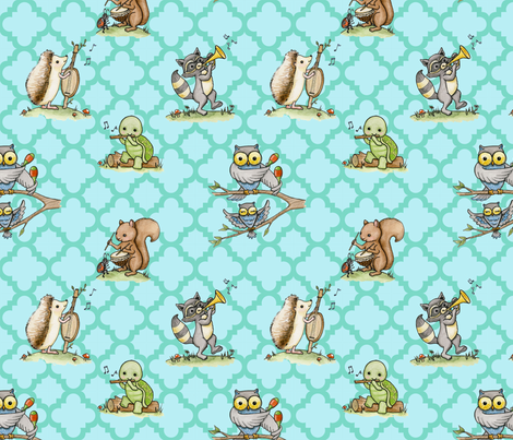 Critter Jamboree blue fabric by mytinystar on Spoonflower - custom fabric