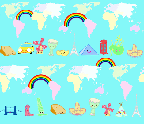 kawaii_all_over_the_world_21x18 fabric by thepeaches on Spoonflower - custom fabric