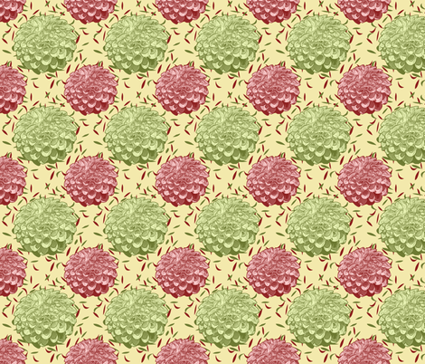 Dahlias Pink and Green on Yellow fabric by theartfulhorse on Spoonflower - custom fabric