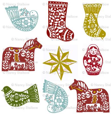 Christmas Ornaments with Matruschkas and Dala Horses