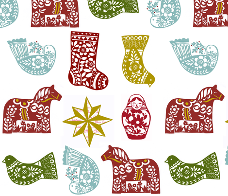 Christmas Ornaments with Matruschkas and Dala Horses fabric by nsta on Spoonflower - custom fabric