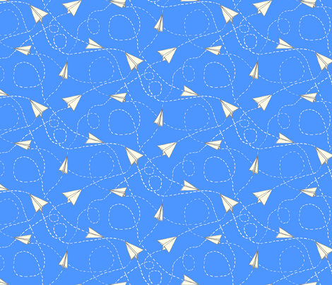 Design Crafty Paper planes 'Bright Sky' fabric by designcrafty on Spoonflower - custom fabric
