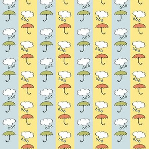 Splish-Splash - Umbrellas on blue and yellow Stripes Nursery