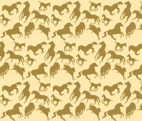 Horse Dreams Golden Horses fabric by theartfulhorse on Spoonflower - custom fabric