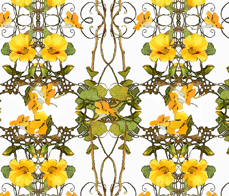 yellow_nasturtium_pattern fabric by wren_leyland on Spoonflower - custom fabric