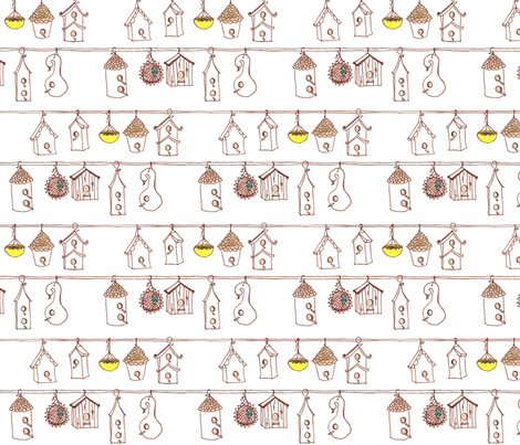 bird village fabric by erin_lebeau on Spoonflower - custom fabric