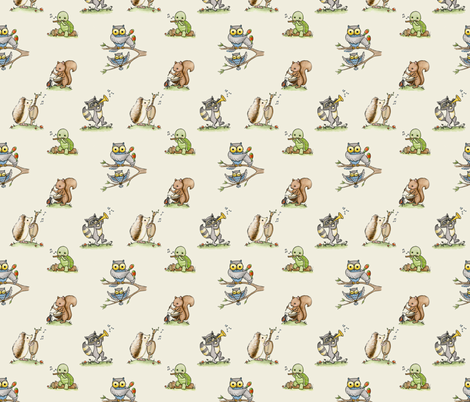 Critter Jamboree small cream fabric by mytinystar on Spoonflower - custom fabric
