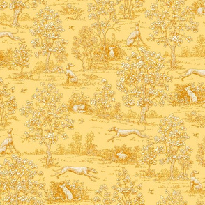 Golden Reverse Greyhound Toile ©2010 by Jane Walker
