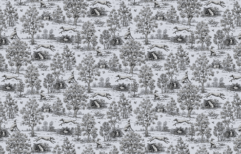 Black Reverse Greyhound Toile ©2010 by Jane Walker fabric by artbyjanewalker on Spoonflower - custom fabric