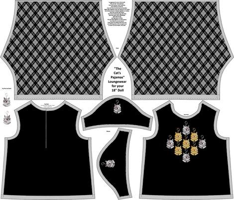 "Cat's Pajamas 18"" Doll Loungewear fabric by kdl on Spoonflower - custom fabric"