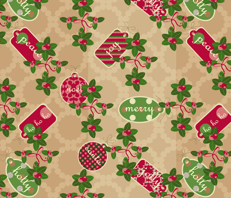 holly & gift tags fabric by deesignor on Spoonflower - custom fabric
